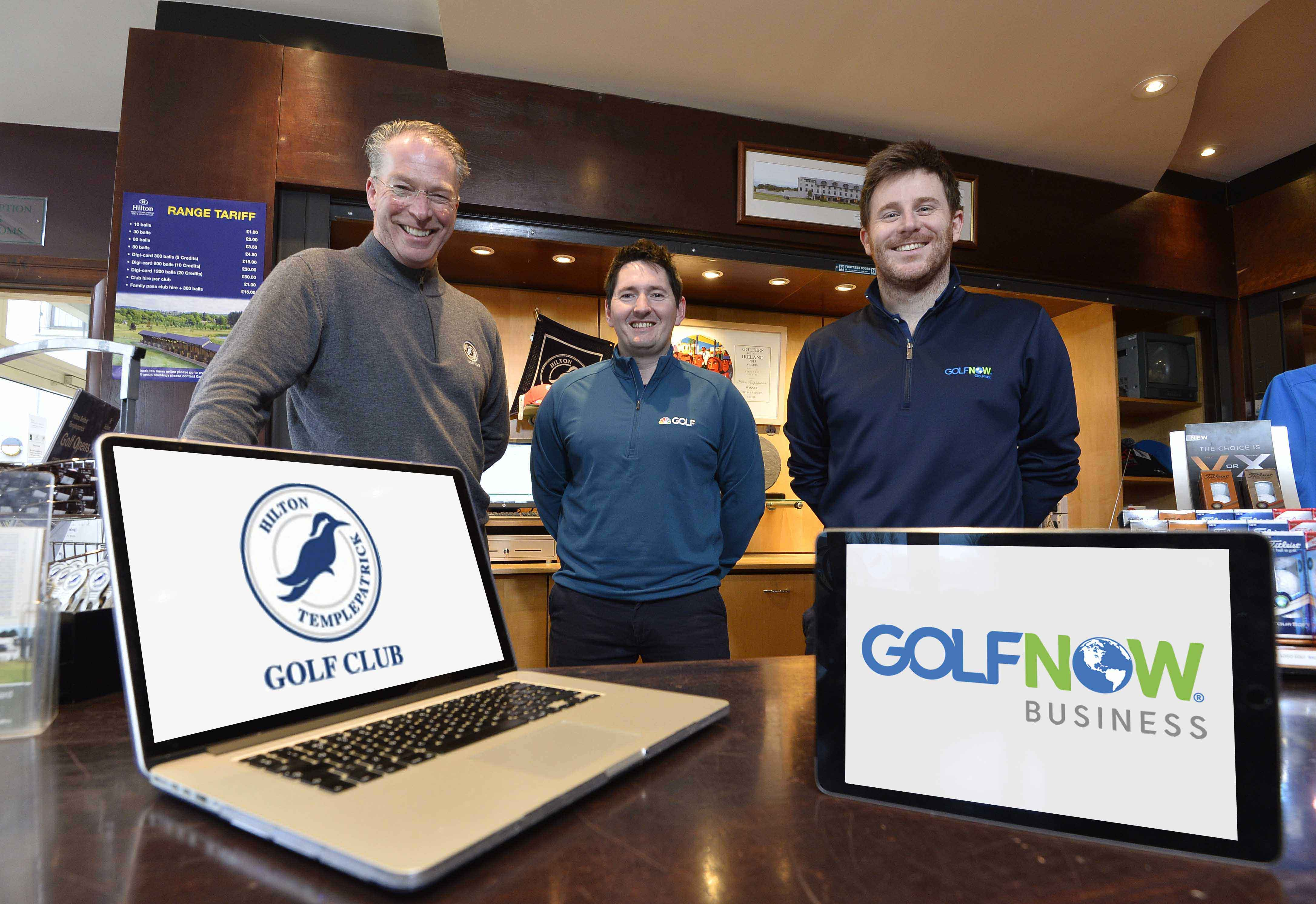 GOLF clubs across the UK and Ireland can now boost their revenue and reputation online thanks to a marketing platform provided by BRS Golf, the tech division of leading online tee time provider GolfNow. Plus by GolfNow enables clubs to maximize revenue with auto-pricing and also to track golfer satisfaction through social media and online reviews. Built in analytics will help clubs better understand their competitive landscape combining expert consultation and proprietary technology to help golf courses manage their businesses. Pictured at the launch of the new platform are (l-r) Eamonn Logue, Director of Golf at Hilton Templepatrick Golf and Country Club, Ryan Bell, GolfNow Market Sales Manager, and Conor Murphy, GolfNow Regional Sales Manager. Hilton Templepatrick is one of the first golf clubs to use Plus by GolfNow to drive business and attract visitors. Golf clubs wishing to find out more about the new Plus by GolfNow platform can contact the company or request a free demo by emailing sales@golfnow.co.uk .