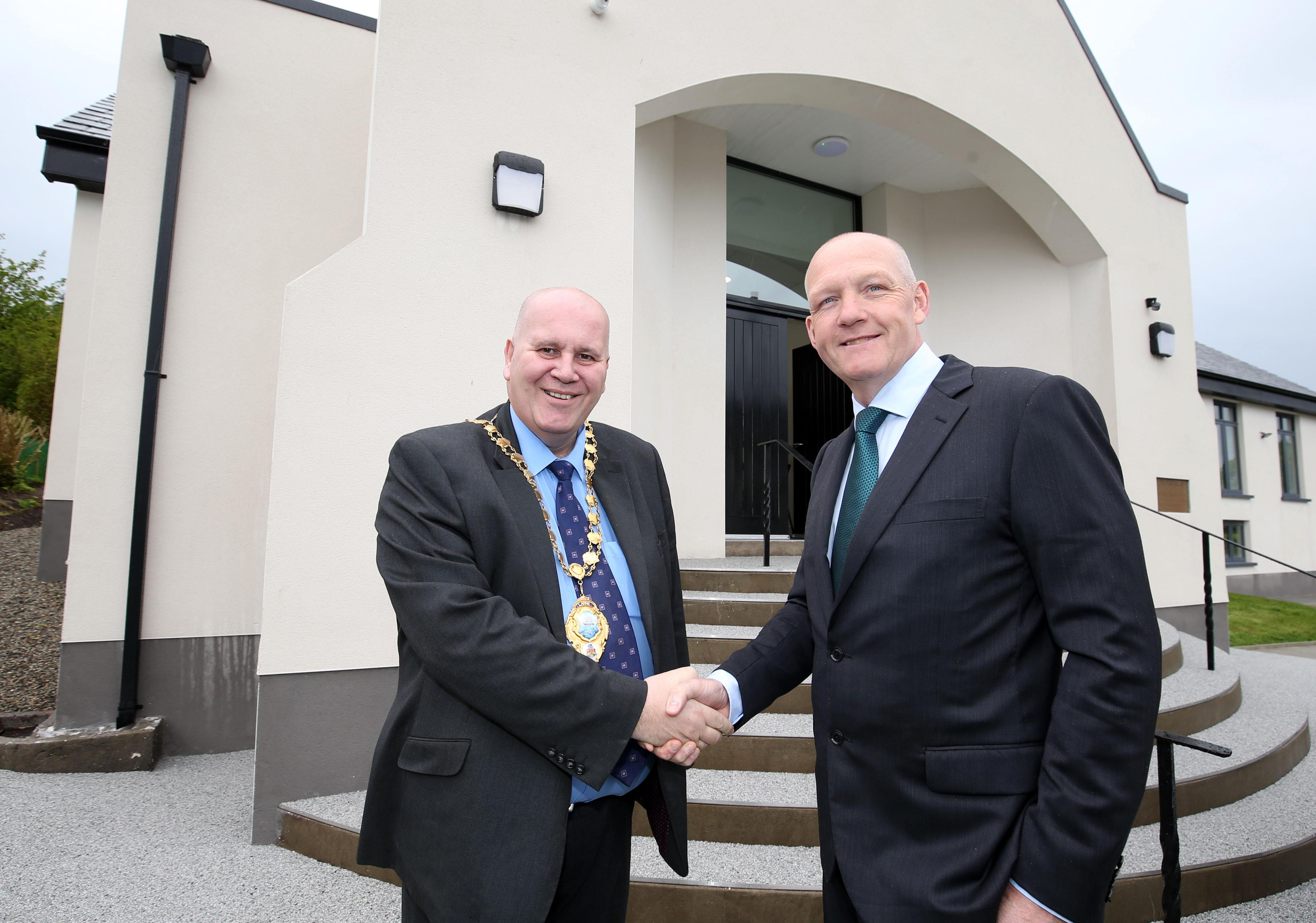 Cllr Paul Reid, Mayor of Larne and Paul Eakin, UK CEO Eakin Healthcare Group.