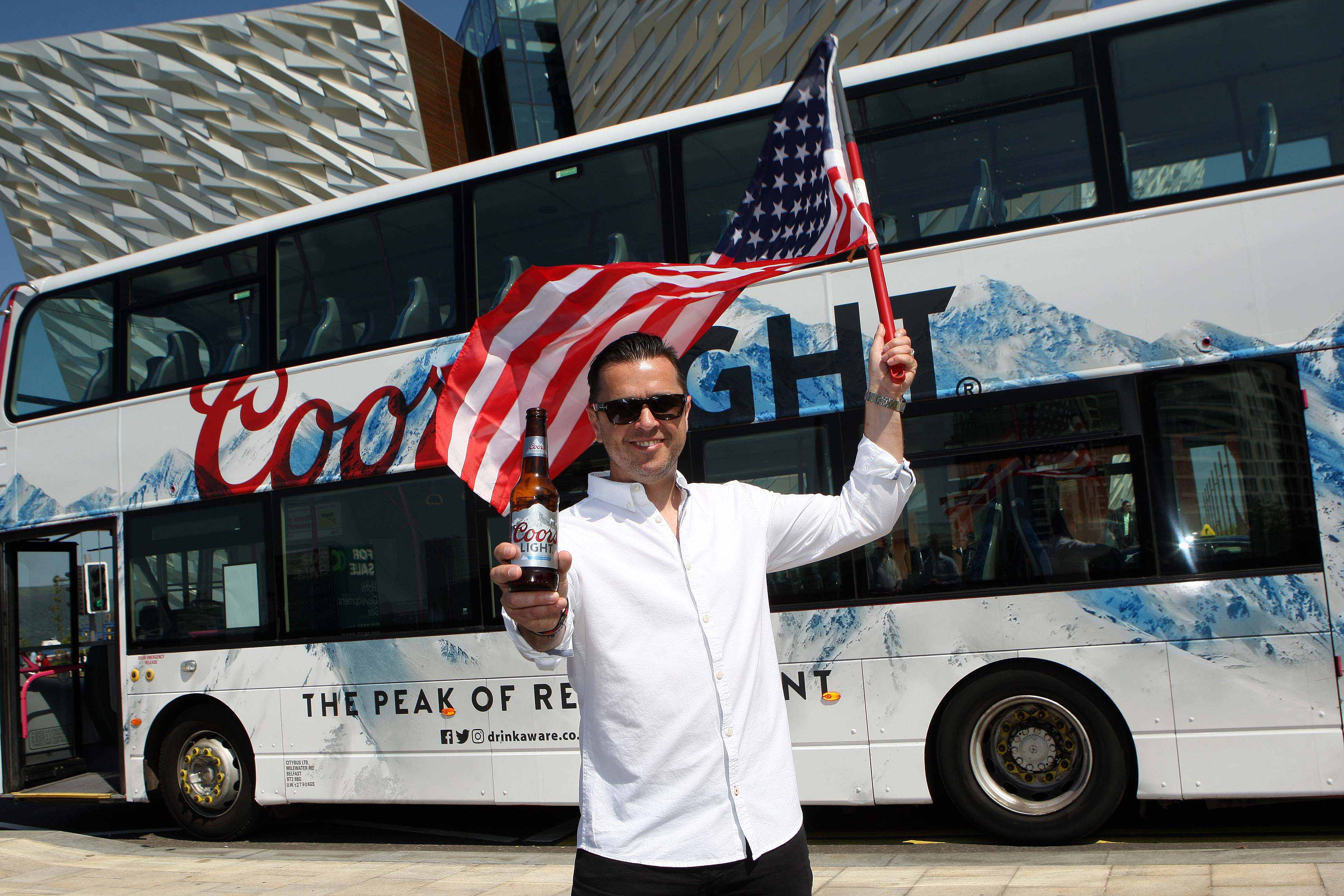 CHEERS!: Local personality Pete Snodden is flying the flag for Coors Light as they celebrate a record year in NI. Latest figures show that more than two in every five bottles of beer sold in Northern Ireland on trade is a Coors Light, with sales still continuing to grow. To mark the occasion, Coors Light has launched a huge 'experiential' campaign, giving local beer lovers the chance to win their very own experience of a lifetime and create their own iconic memories, whether they want to go scuba diving in the Coral Reef or travel to the home of Coors Light in the Rocky Mountains.