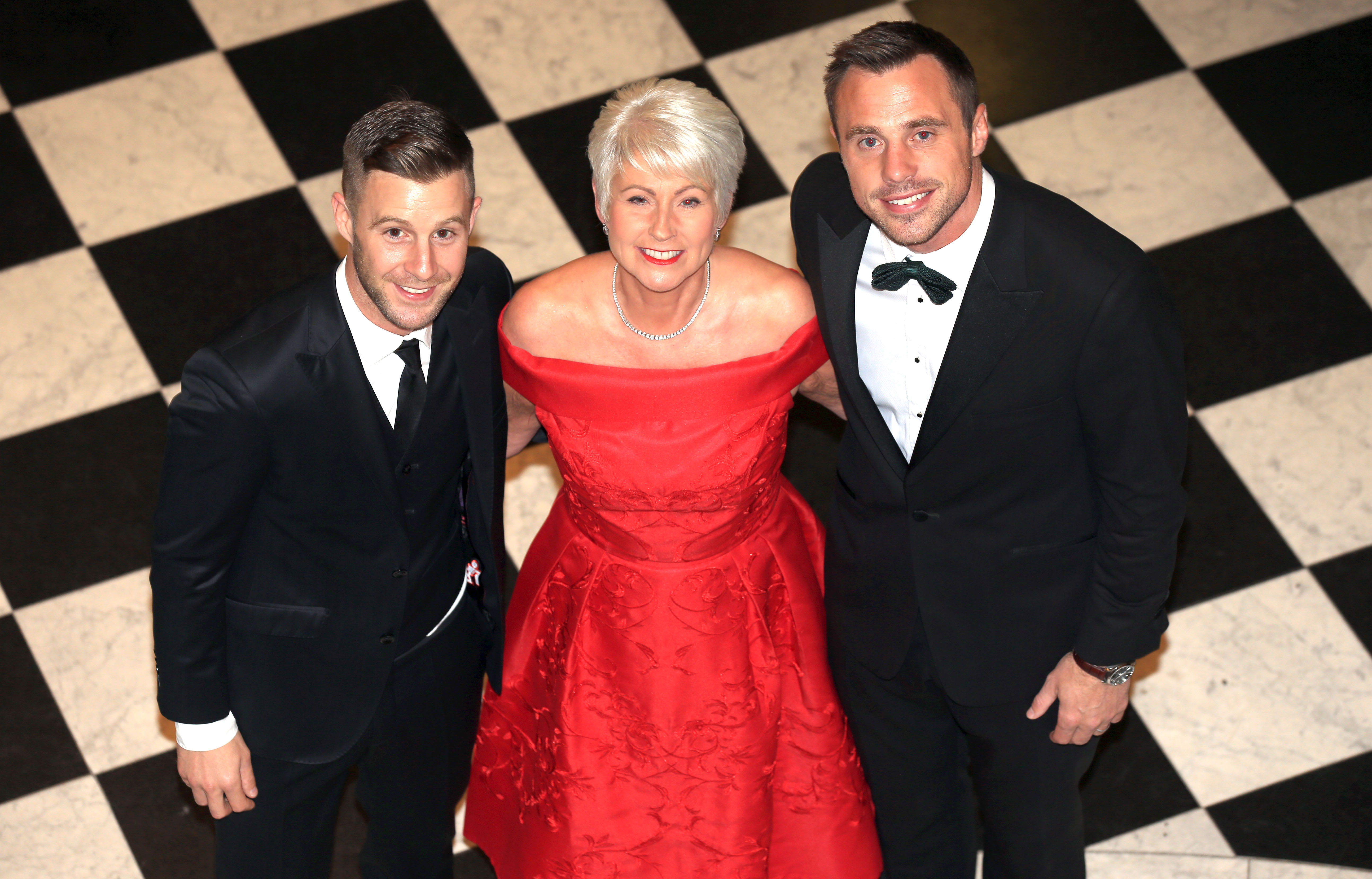 PACEMAKER, BELFAST, 6/9/2018: Television presenter Pamela Ballantine was the winner of the Celebrity of the Year award at the Ulster Tatler Awards at Belfast City Hall. Pamela is pictured with World Superbike champion, Jonathan Rea who won the Sportsperson of the Year award and Ulster and Ireland rugby player, Tommy Bowe who received a Special Merit award for his services to sport. Northern IrelandÕs longest-running glossy magazine, Ulster Tatler, is celebrating over 50 years on the shelves of NI, and its eleventh annual awards recognise the people and businesses of Northern Ireland that have lit up its pages since 1966. PICTURE BY STEPHEN DAVISON