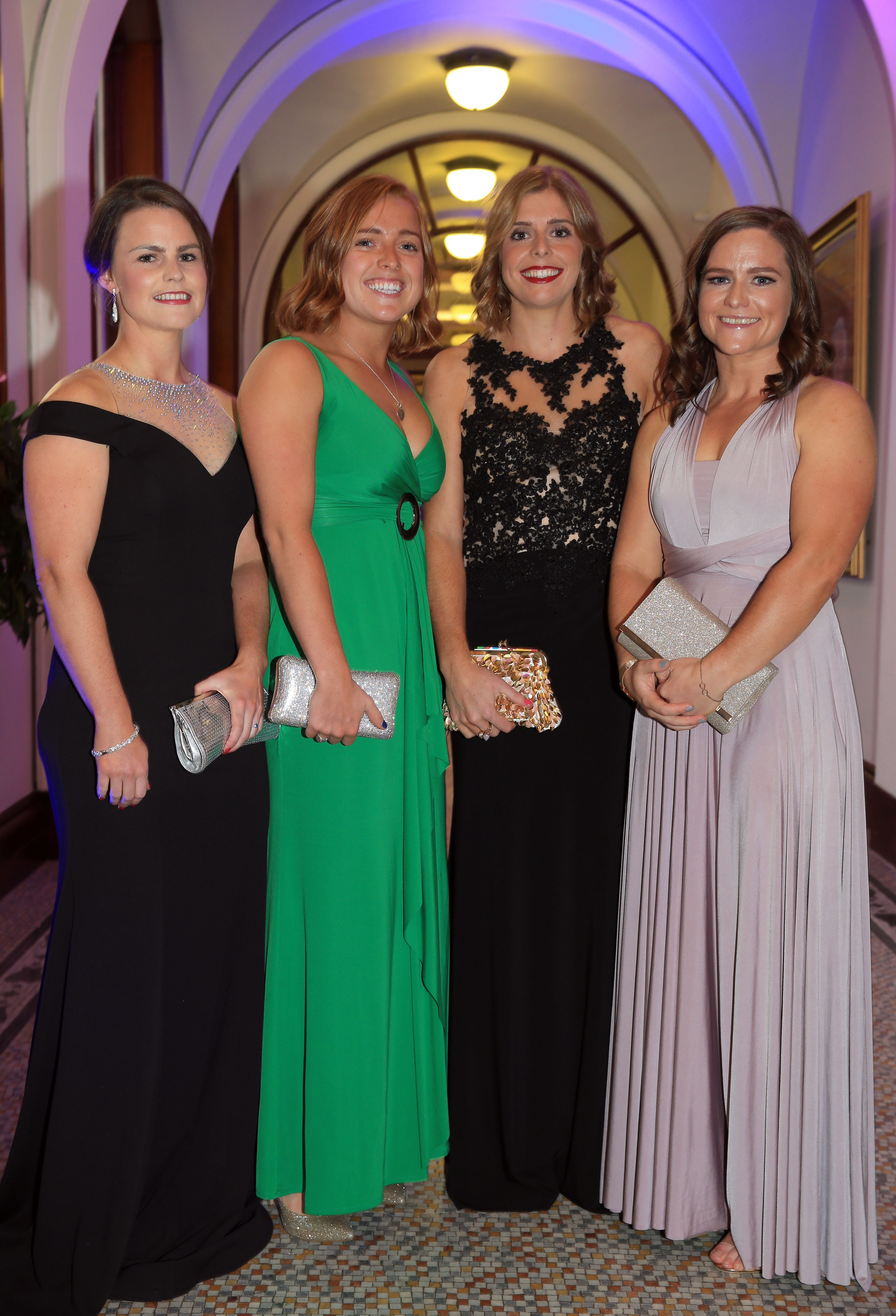PACEMAKER, BELFAST, 6/9/2018: Lizzie Colvin, Zoe Wilson, Katie Mullan and Shirley McCay from the history-making Ireland hockey team pictured at the Ulster Tatler Awards at Belfast City Hall. Northern IrelandÕs longest-running glossy magazine, Ulster Tatler, is celebrating over 50 years on the shelves of NI, and its eleventh annual awards recognise the people and businesses of Northern Ireland that have lit up its pages since 1966. Northern IrelandÕs longest-running glossy magazine, Ulster Tatler, is celebrating over 50 years on the shelves of NI, and its eleventh annual awards recognise the people and businesses of Northern Ireland that have lit up its pages since 1966. PICTURE BY STEPHEN DAVISON