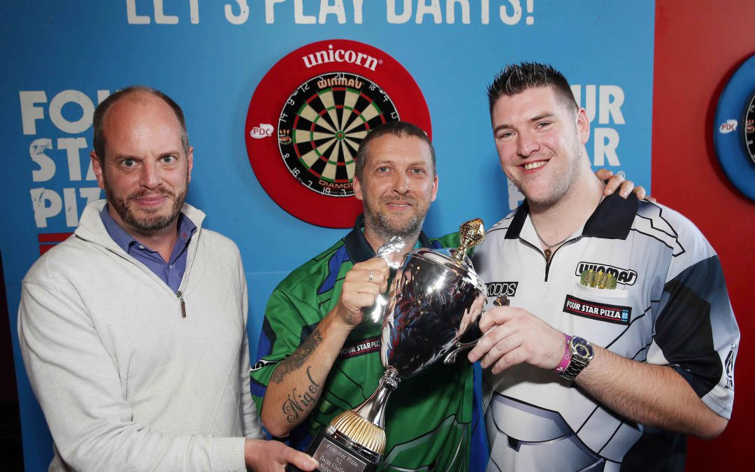 MAGIC DARTS! Nigel throws his way to Four Star Pizza darts title – and a showdown with Daryl Gurney