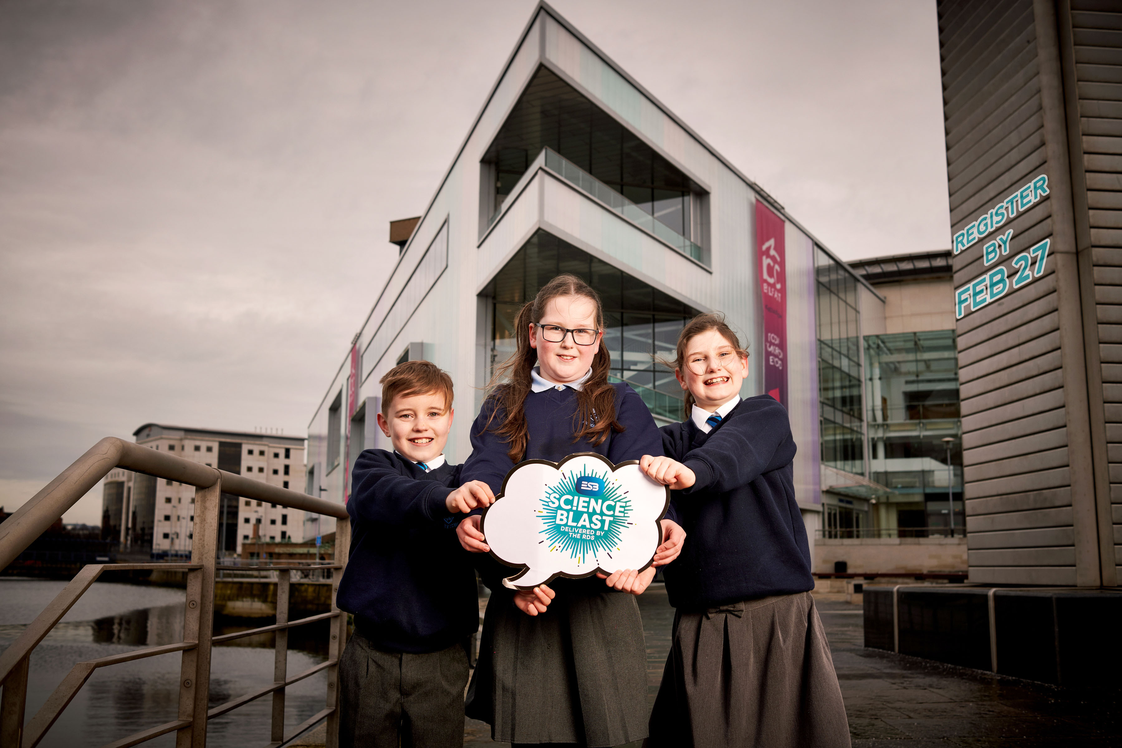 Pupils to Have a BLAST at ESB Science Extravaganza: Max Graham, Jasmine Hayes and Rebecca Logan (L-R) from Dunclug Primary School in Ballymena celebrate one of the biggest science events on the island of Ireland. The ESB Science Blast is coming to Belfast on June 5th and 6th bringing up to 2000 Key Stage 2 pupils together from all over Ulster to display their creative science investigations at the ICC Belfast (Waterfront Hall). Managed and delivered by the Royal Dublin Society (RDS) and endorsed by CCEA (Council for the Curriculum, Examinations and Assessment), this non-competitive education programme calls on primary school students from across the Province to harness their natural curiosity and register their involvement by Wednesday February 27. Schools can find out more information and register for their place at www.esbscienceblast.com.