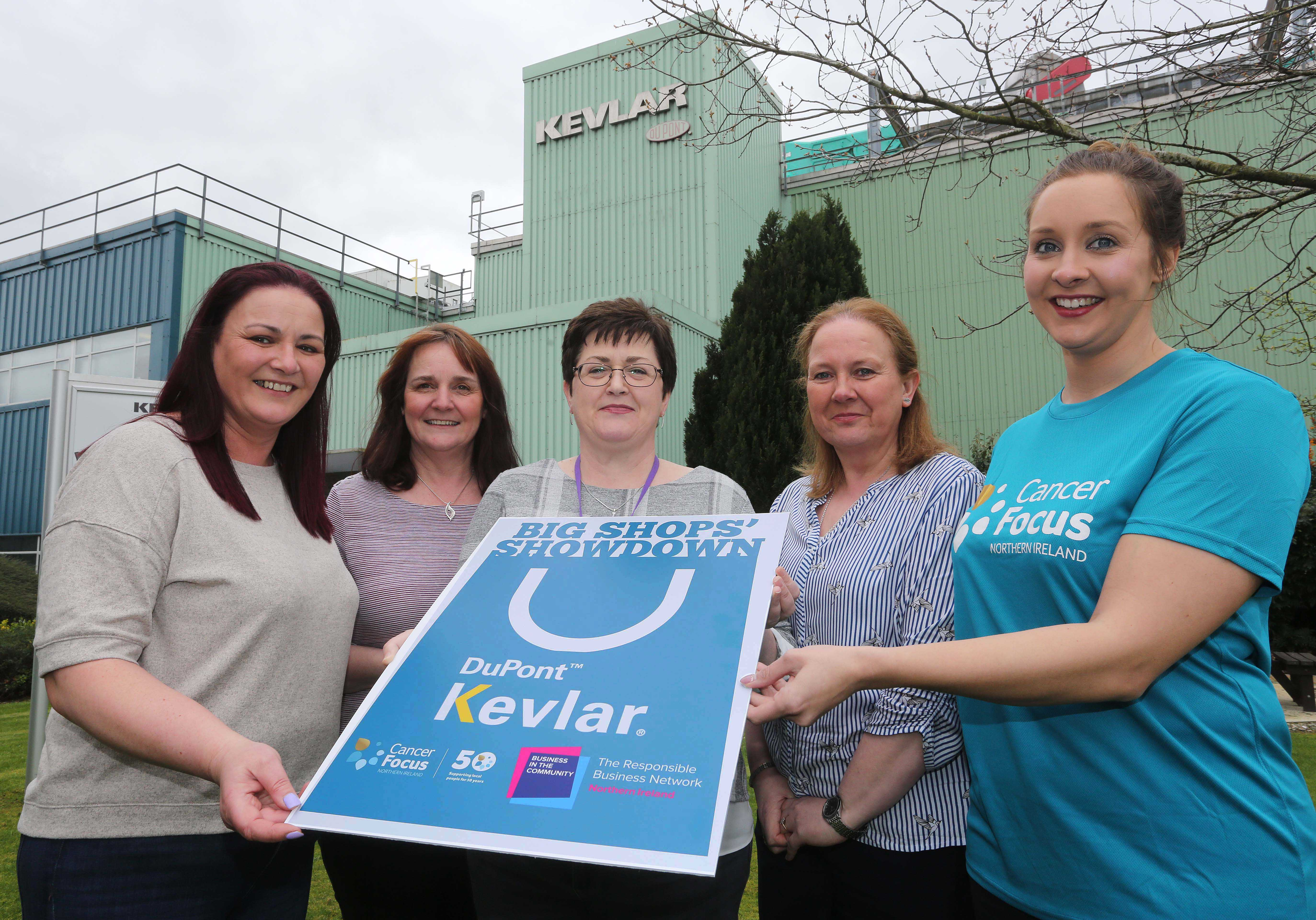 BIG SHOPS' SHOWDOWN: (L-R) Janine Geddes, Karen Dornan, Helena McGuinness, and Anita Simpson from DuPont are joined by Louise Greer from Cancer Focus NI to announce that DuPont will be swapping Maydown for Limavady for a day on Friday April 12th, when their team takes over the Cancer Focus Northern Ireland charity shop on Connell Street as part of Business in the Community's 'Big Shops' Showdown' fundraising initiative. The Big Shops' Showdown will see companies across Northern Ireland take over the running of a Cancer Focus shop for the day, and compete against each other to raise as much cash as possible for the charity. Maydown-based DuPont has been getting creative in their fundraising; organising coffee mornings, a quiz and planning activities for the Limavady shop on the day. Their team has big plans to get people involved, and are encouraging everyone in the area to pop into the Cancer Focus NI store between 10am-4pm on Friday April 12 to help support the local charity.