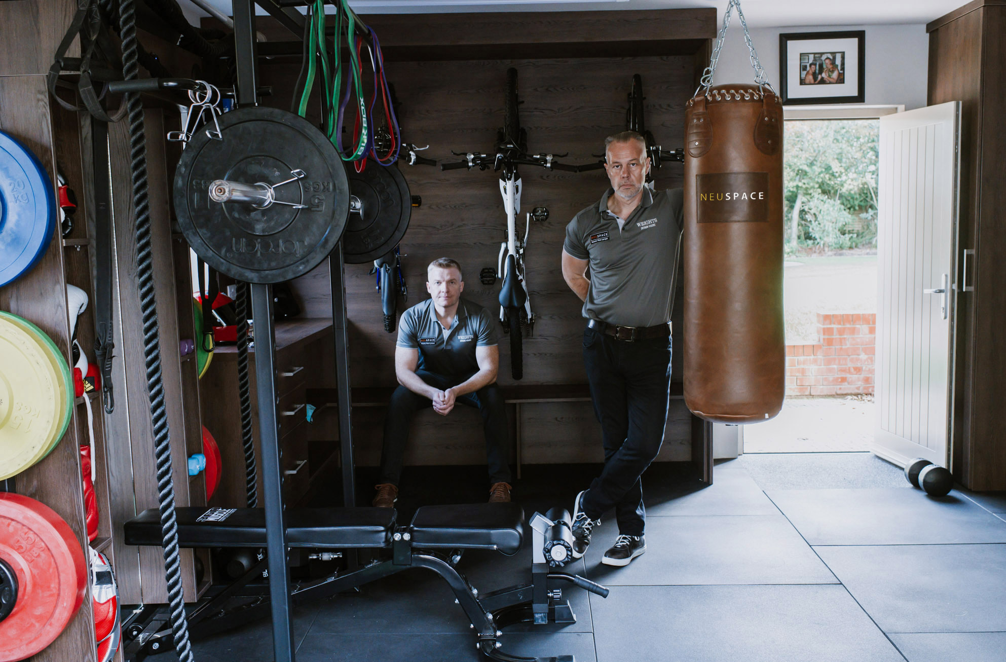 TIME IS NEU TO TRANSFORM YOUR GARAGE: Glen Wright (left) and Darryl Sloan are on a mission to abolish wasted garage space following the launch of NeuSpace, a new Northern Irish company specialising in bespoke high-end garage transformations. The fit-out firm specialises in transforming a typical garage into the ultimate multi-functional recreational area, from a stylish purpose-built gym or office, to a children's play area or pool room with full bar facilities. The idea for NeuSpace, which takes its name from the German word for 'new' (pronounced 'now'), spawned from a 'meeting of minds' between company directors Sloan, one of the province's leading fitness coaches, and Wright, a director with award-winning kitchen and furniture designer Wright's Design House. For more information or to arrange a free consultation, visit www.neuspaceni.com, call 028 9246 0047 or email info@neuspaceni.com.