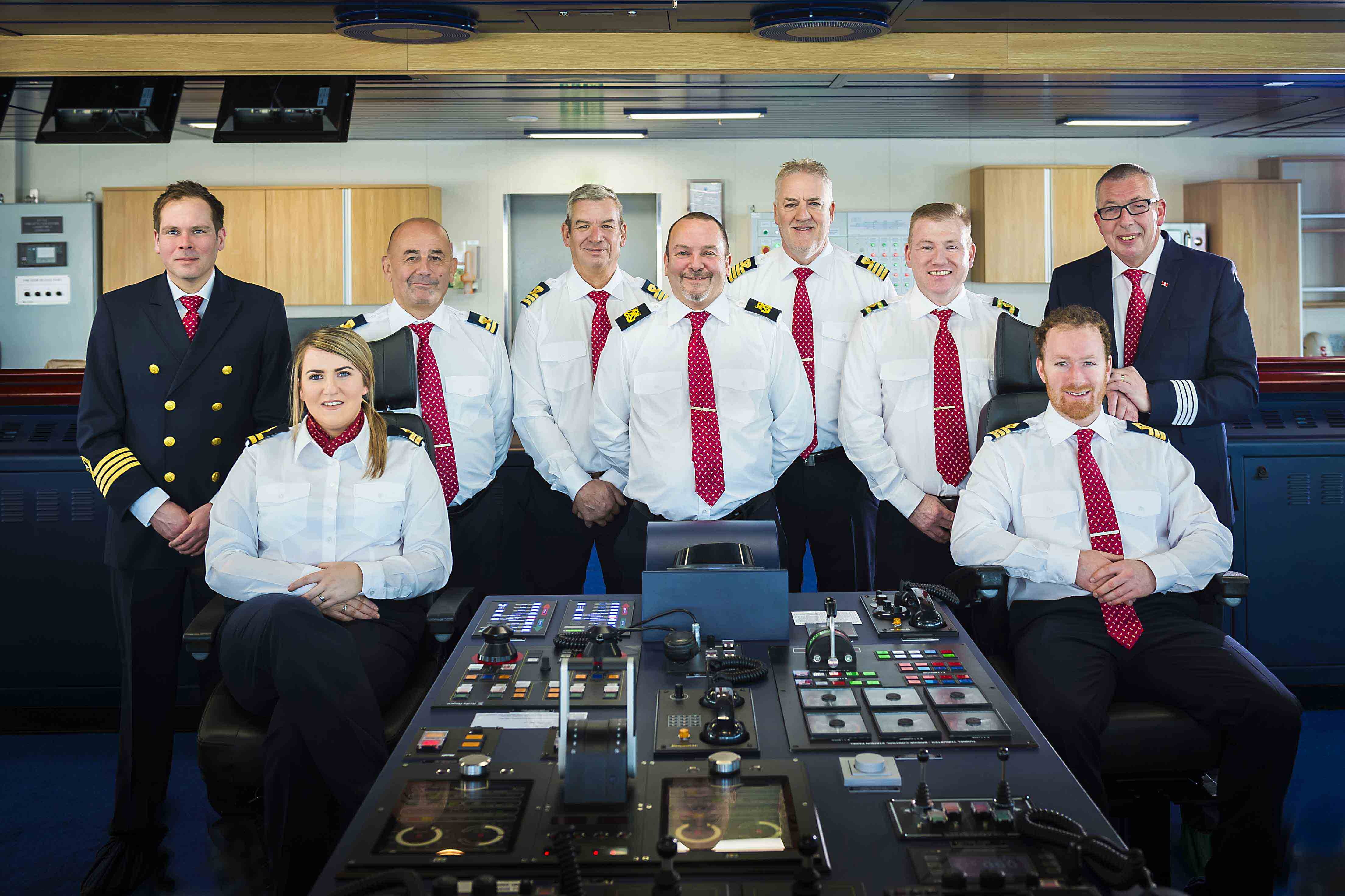 MASTERS OF THE HIGH SEAS: (l-r) Senior Master Matthew Lynch is pictured on board Stena Line's newest ferry Stena Estrid with crew members Cora Bonham, John Thomas, Mark Connell, Ian Grimes, David Morris, Jason Rafferty, Marc Young and Stephen Davies. Captain 'Matt' and his crew are currently steering Stena Estrid on its 10,000 mile journey from the AVIC Weihai Shipyard in China, where it was built, to the Irish Sea where it will start service on the Holyhead to Dublin route in January.