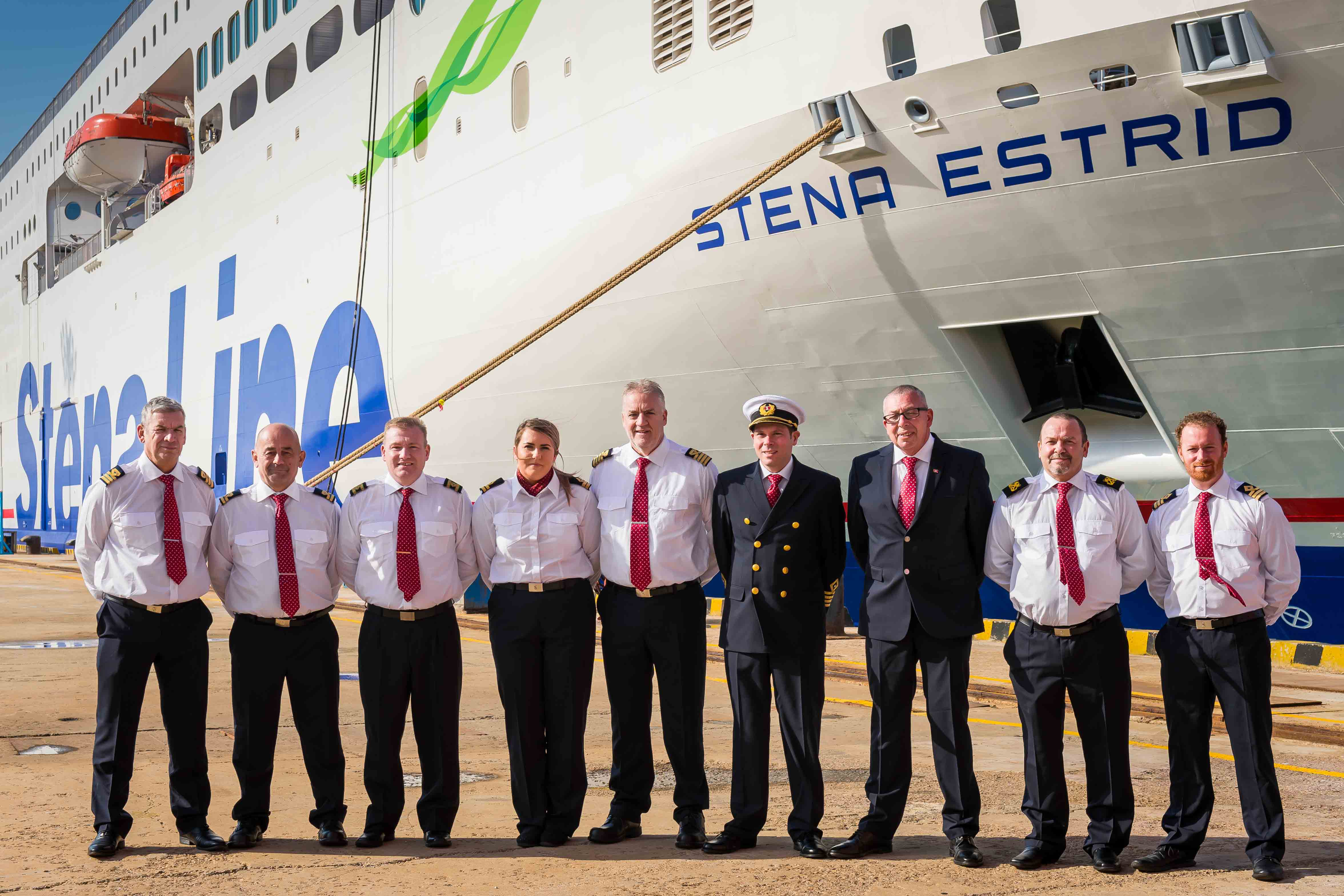 SHIP SHAPE: Senior Master Matthew Lynch (4th from right) is pictured with Stena Line's newest ferry Stena Estrid and crew members (l-r) Mark Connell, John Thomas, Jason Rafferty, Cora Bonham, David Morris, Stephen Davies, Ian Grimes and Marc Young. Captain 'Matt' and his crew are currently steering Stena Estrid on its 10,000 mile journey from the AVIC Weihai Shipyard in China, where it was built, to the Irish Sea where it will start service on the Holyhead to Dublin route in January.