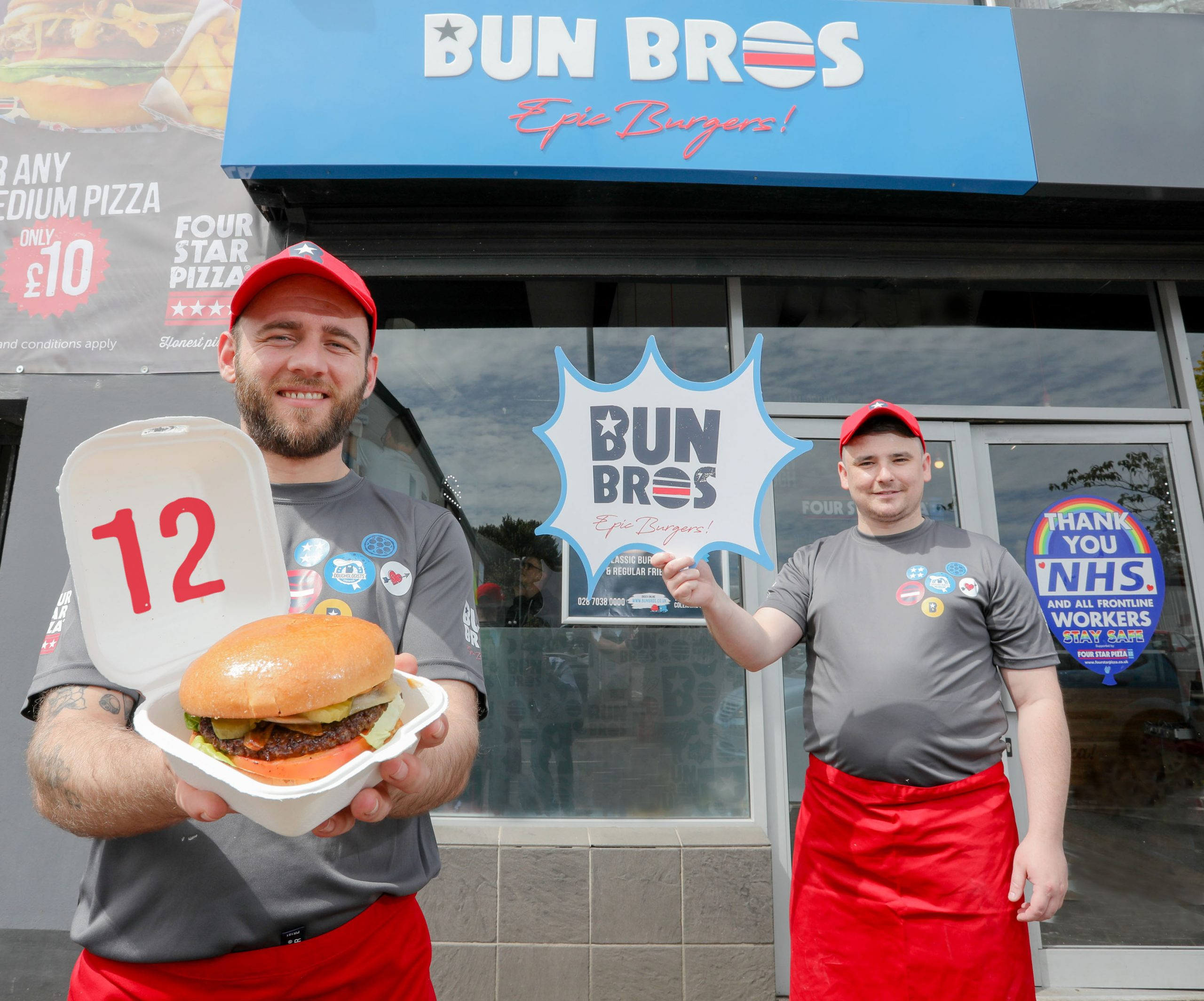 NEW burger chain Bun Bros has opened its first ever store in Northern Ireland, creating 12 new jobs in the Coleraine area after a £50,000 investment. The store will offer burger lovers a vast array of made-to-order burgers produced using only locally sourced Irish Beef. Pictured at the launch are (L-R) Store Manager Ciaran Magee and collegaue Lee Biggart. For more information on Bun Bros or to order, go to https://bunbros.co.uk or check the company out on social media at https://www.facebook.com/BunBrosColeraine