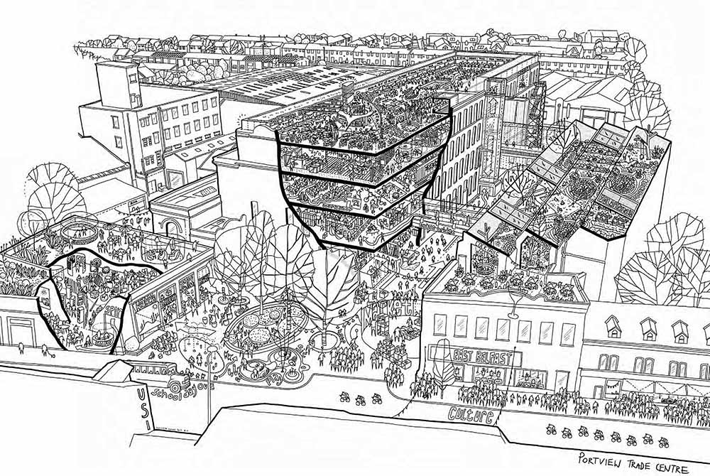 VISION FOR THE FUTURE: An artist's impression of how Portview Trade Centre on the Newtownards Road could look after being awarded a grant of £221,200 from The National Lottery Heritage Fund towards the development of a sustainable masterplan to preserve and maintain the heritage of what was formerly the site of the Strand Spinning Mill, once the largest flax tow spinning mill in the world and a key feature within a vibrant East Belfast community sustained by thriving industries such as ropeworks and ship building. Proposals for the redevelopment of the 17,000sqm site include the creation of a physical and digital 'Spinning Archive' that will tell the story of Strand Spinning Mill through the experiences of local residents, supported by stories and artefacts from the time. Other exciting features proposed for the site include a satellite heritage exhibition centre, a state-of-the-art urban rooftop park for agricultural and tourism purposes, and designated Artist and Cultural spaces.