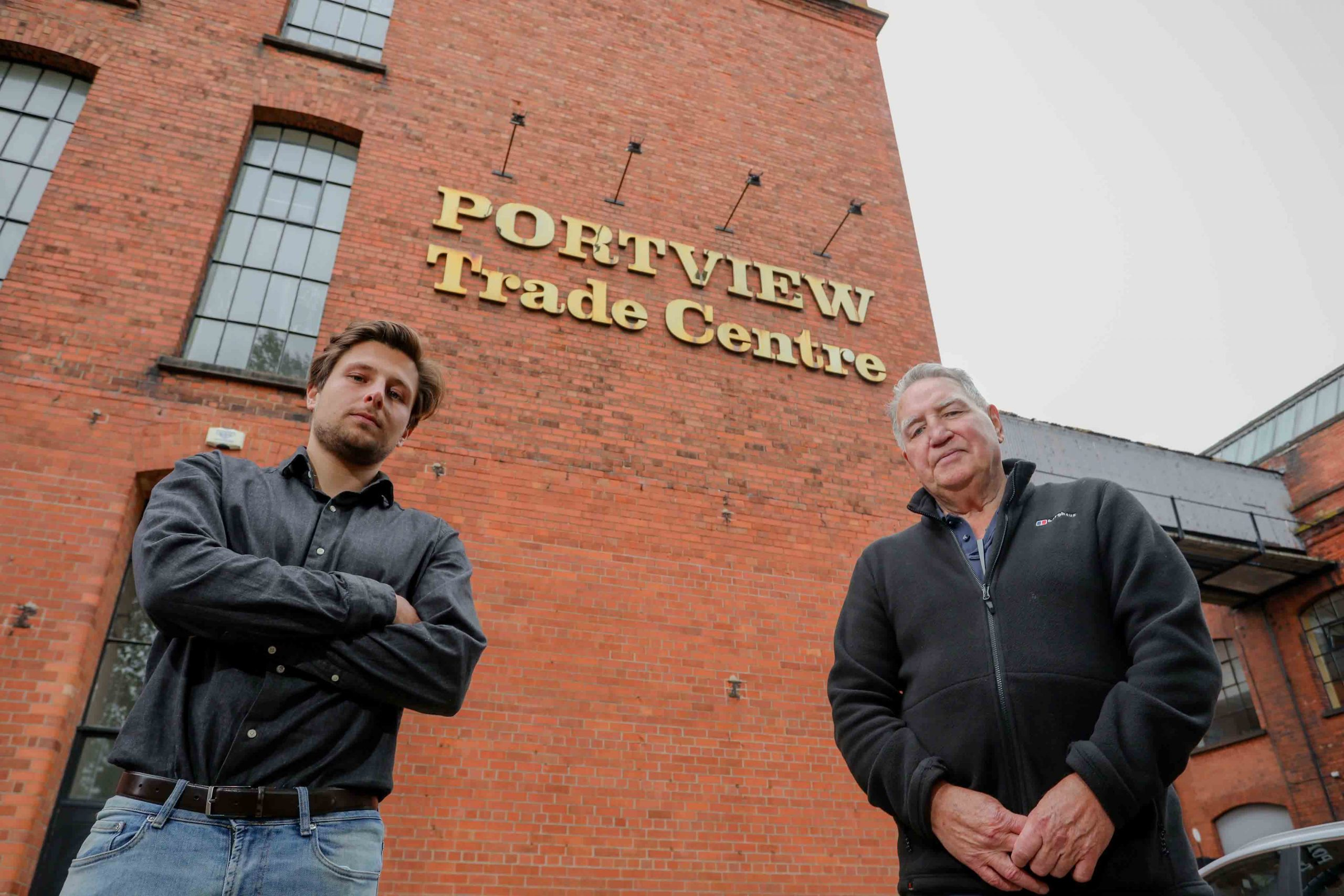 Portview Trade Centre on the Newtownards Road has been awarded a grant of £221,200 from The National Lottery Heritage Fund towards the development of a sustainable masterplan to preserve and maintain the heritage of what was formerly the site of the Strand Spinning Mill, once the largest flax tow spinning mill in the world and a key feature within a vibrant East Belfast community sustained by thriving industries such as ropeworks and ship building. Pictured at the iconic site are Portview Trade Centre Chairman Brendan Mackin (right) and Ralf Alwani from Urban Scale Interventions (USI), the Belfast-based company that is overseeing the concept development of the project and ensuring that it is sustainable and self-sufficient. This long-term vision will be achieved by transforming Portview into a creative social hub in the area, with Heritage at its core but also running across running across a number of key themes including Tourism, Education and Training, Resilience and Employment.