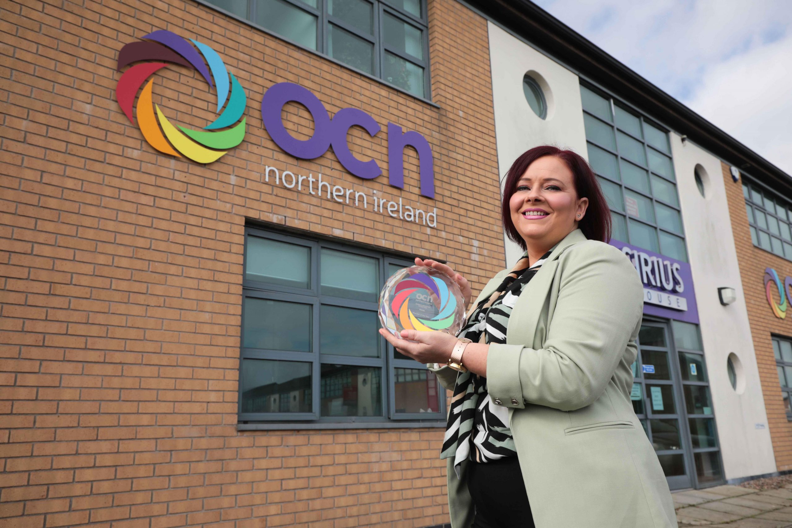 Cheryl Ball is pictured as she collects the Open College Network NI (OCN NI) award for Provider of the Year on behalf of the NOW Group. Earlier this year, OCN NI hosted its first ever Virtual Learning Endeavour Awards to celebrate the achievements of learners from all over Northern Ireland and now, those students have received their awards in person at the OCN NI headquarters in Belfast, adhering to social distancing advice. For more information on OCN NI go to https://www.ocnni.org.uk/