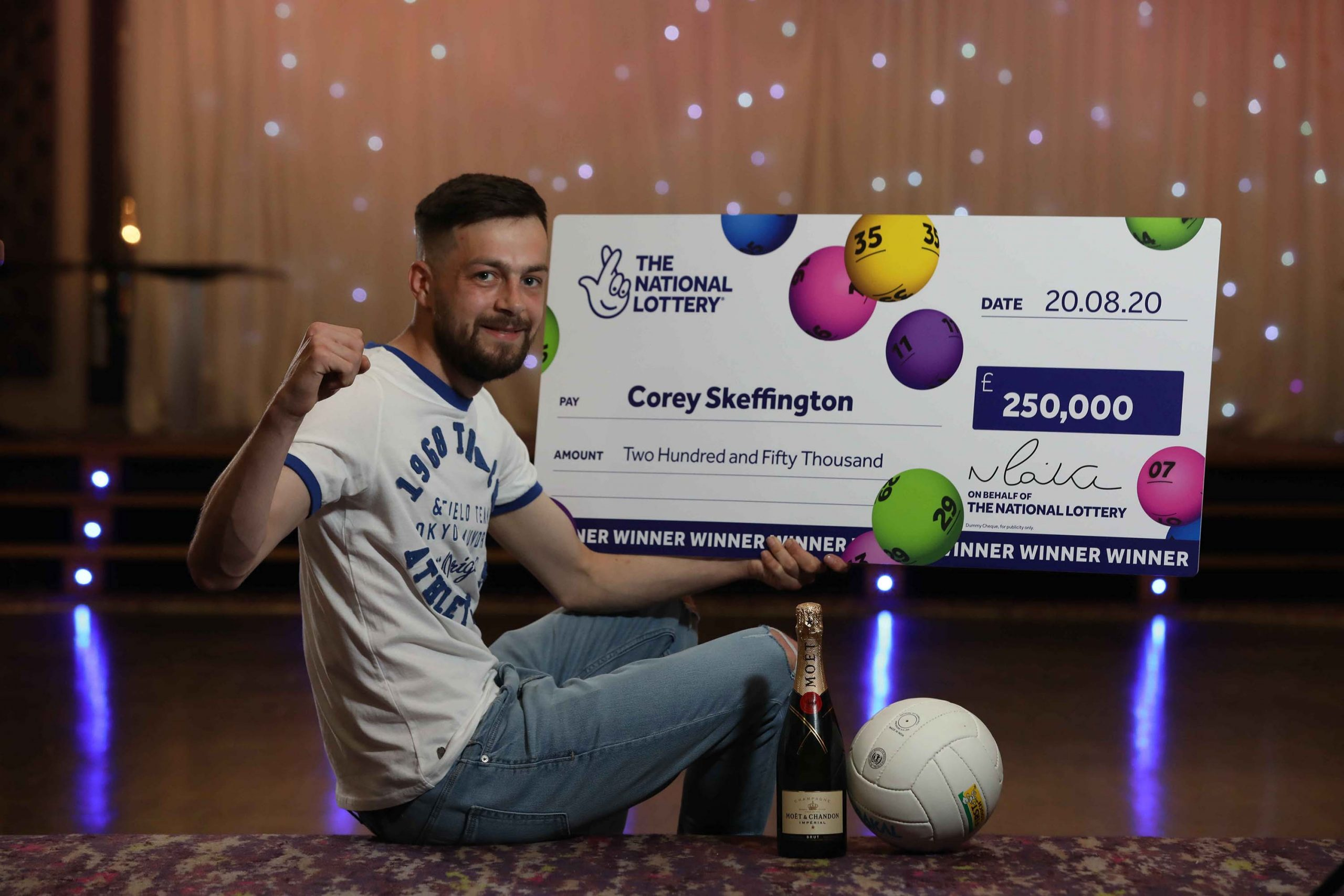 BIG WIN: Corey Skeffington, a young footballer from County Tyrone, is celebrating his first big win of the season after scooping a whopping £250,000 on a National Lottery Scratchcard. Corey (23), a defender for Coalisland Fianna FC's newly formed 'Thirds' team, scored big when he bought the winning £250,000 Gold scratchcard at the Mace store on Loughview Road, Coalisland. The card costs £2 and offers a 1 in 3.99 overall chance of winning a prize, with prizes ranging from £2 up to the top prize of £250,000.