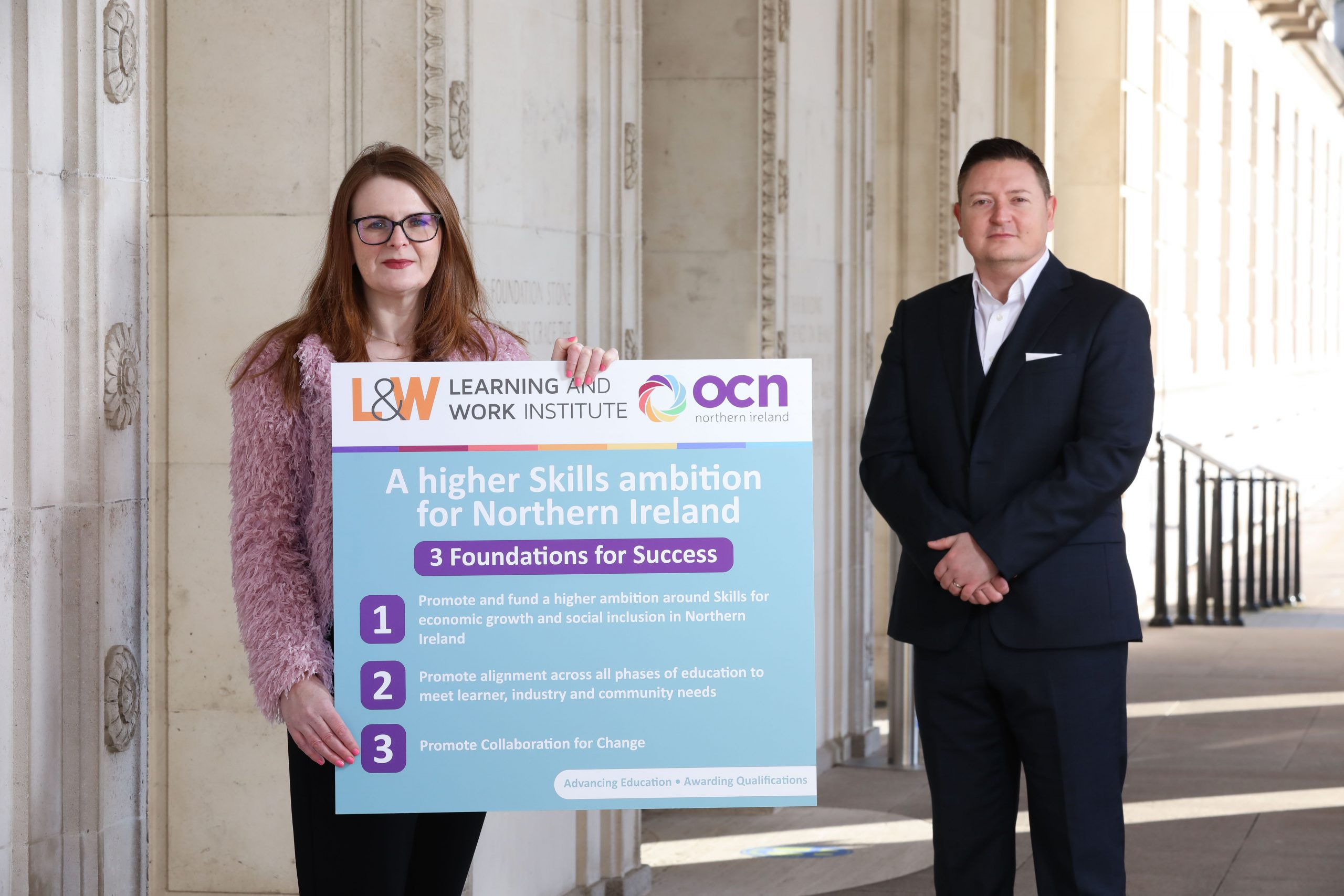 Caoimhe Archibald, Chair Committee for the Economy and Martin Flynn, CEO OCN NI