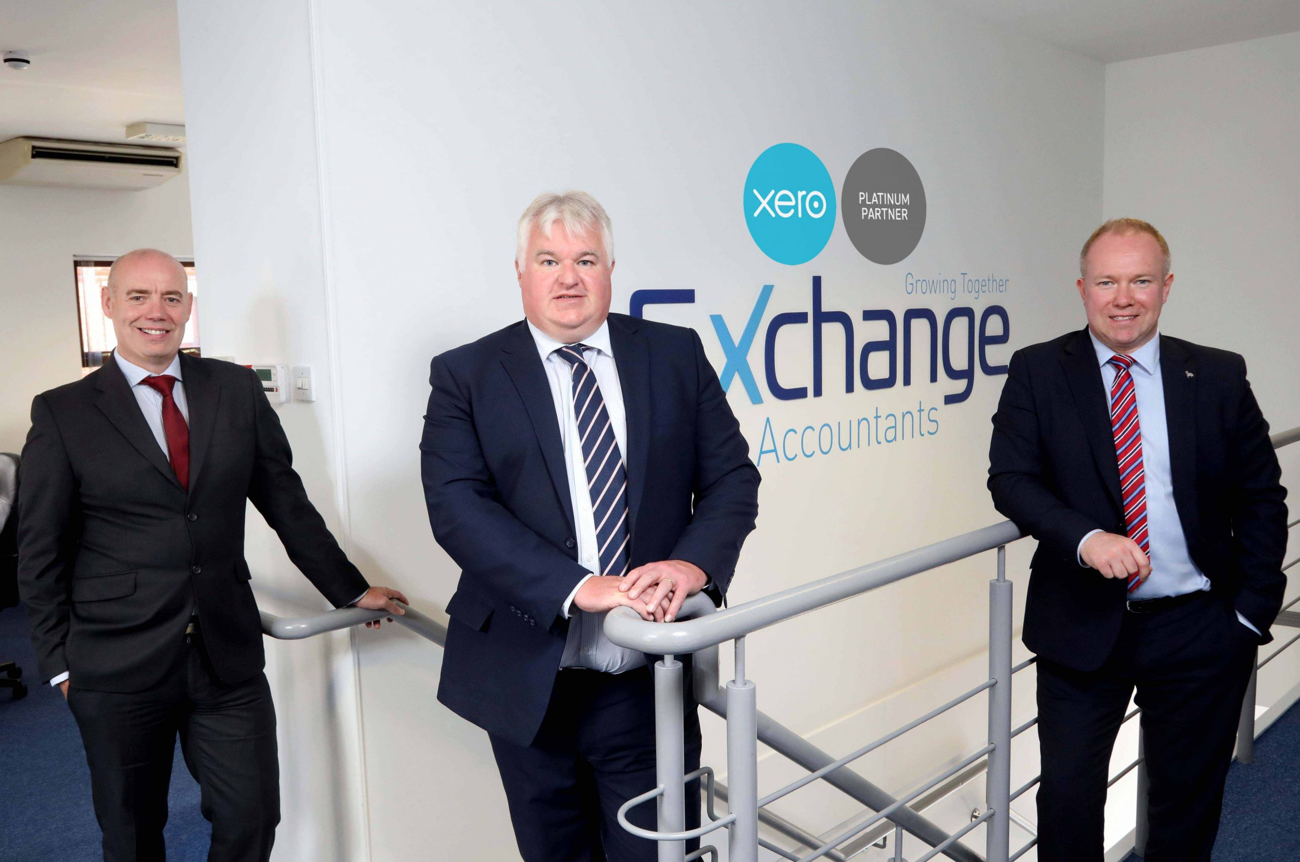 PLAT'S THE WAY TO DO IT: (l-r) Exchange Accountants directors Conor Walls. William Gould and Gary Laverty proudly display the Xero Platinum badge on the office wall after the digital accountancy specialist achieved Platinum Partner status with market-leading cloud accountancy software provider Xero. Lisburn-based Exchange was the first accountancy practice in Northern Ireland to be recognized as a Xero Gold Partner and the company has now been awarded the highest level of partner status, having introduced more than 500 clients to Xero's ground-breaking software system. For more information on Exchange's digital accountancy services, click on www.exchangeaccountants.com, call 028 9263 4135 or send an email to info@exchangeaccountants.com.