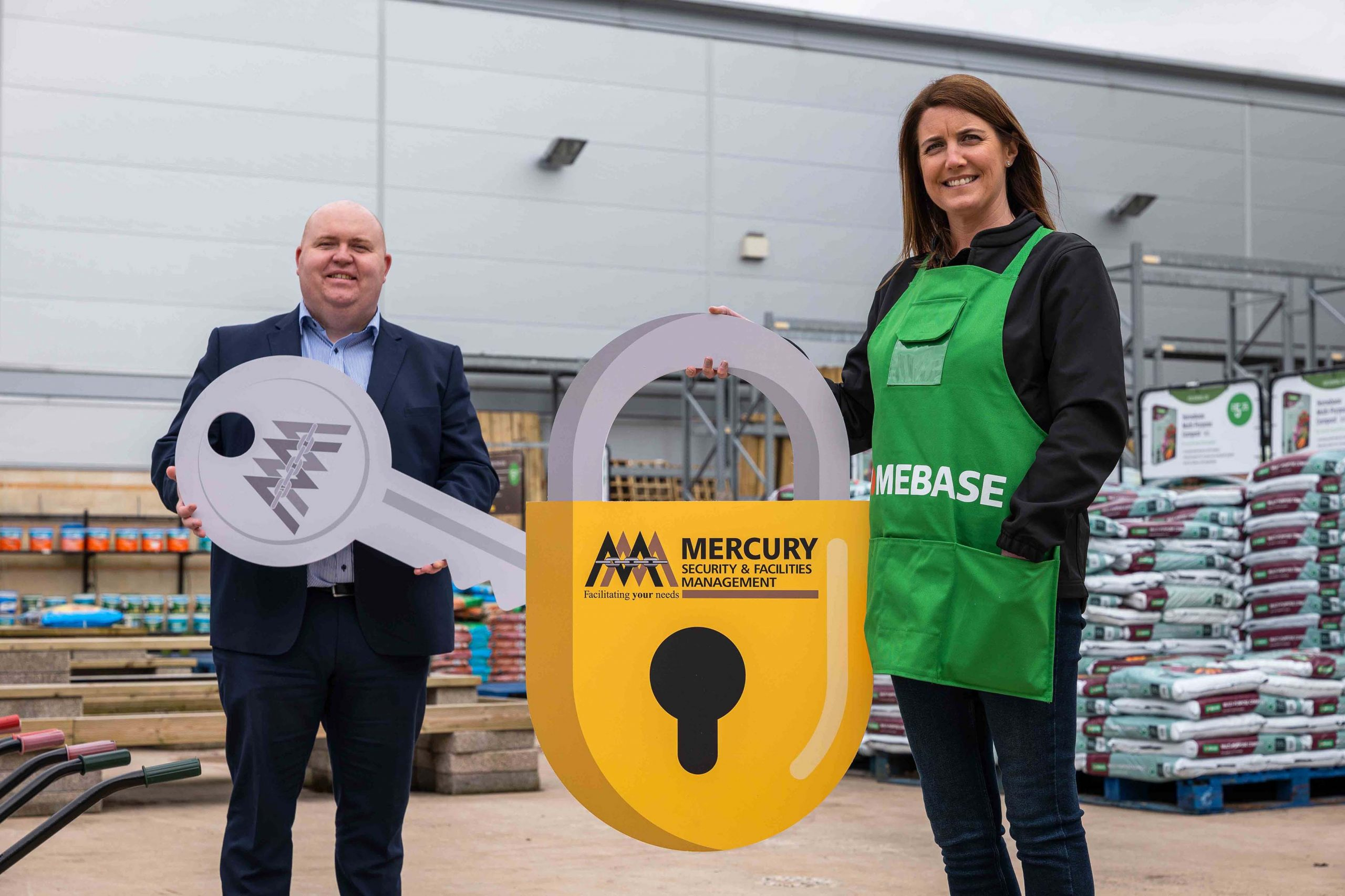 BUSINESS BLOOMING: Ireland's biggest independent security provider and facilities management company Mercury Security & Facilities Management (MSFM) has been awarded the all-Ireland security contract for home and garden experts Homebase. Headquartered in Lisburn with offices in Dublin, Limerick and London, MSFM is a leading security provider in the retail market and Homebase joins an impressive portfolio of clients that also includes Smyth's Toys, Lidl, Harvey Norman, Lifestyle Sports, and a host of prominent shopping centres. Liam Cullen, MSFM Regional Director UK and Ireland, and Karen Turner, Divisional Business Leader, Homebase Ireland, are pictured announcing the deal which will see Mercury provide a team of well-equipped and highly trained security and customer service officers, with fast access to additional support and resources if required, to the retailer's stores on the island of Ireland.