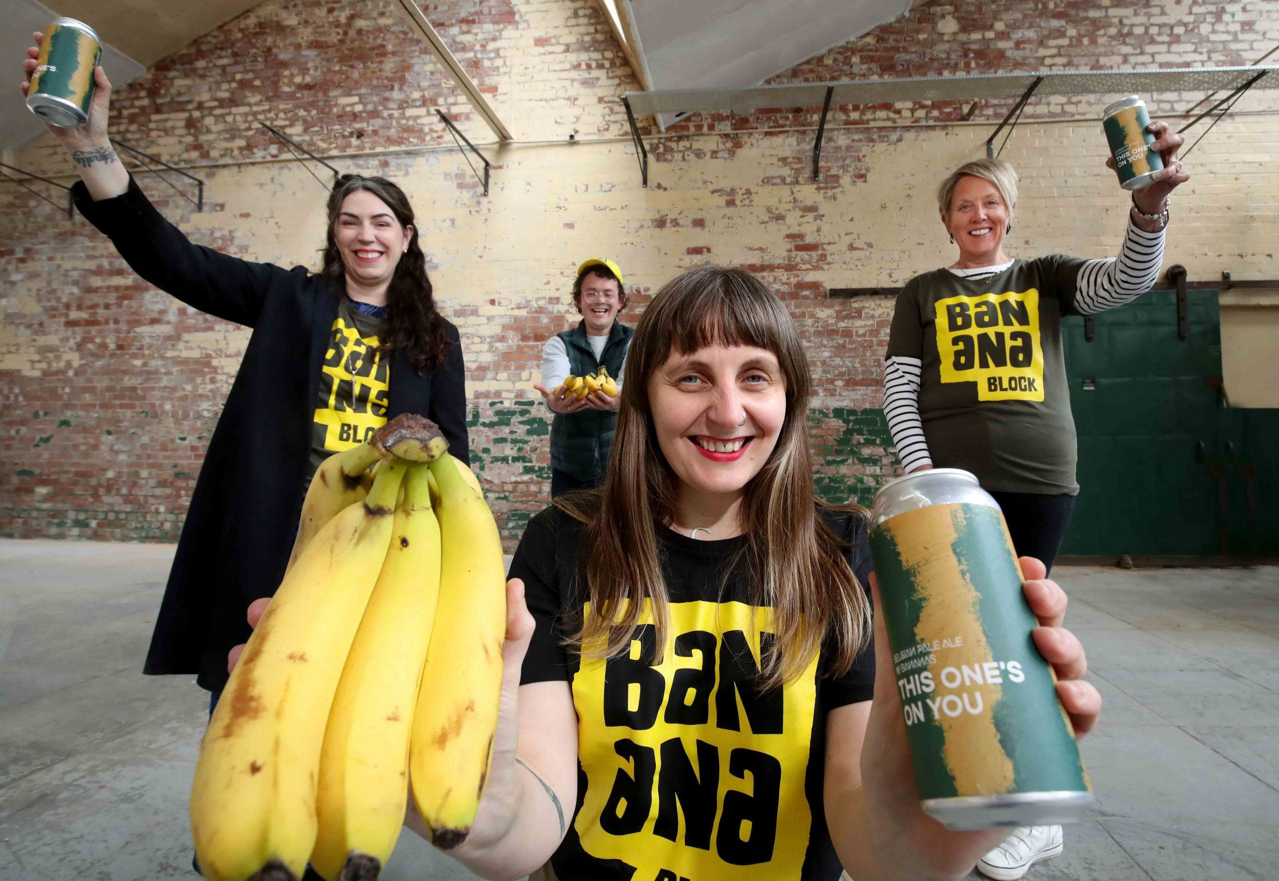 BELFAST GOES BANANAS: Funding is in place to transform 700m2 of vacant space at Portview Trade Centre in East Belfast into 'Banana Block', a tourism oasis and agri-tech living museum set within a tropical banana plant-filled greenhouse. Tourism Northern Ireland has deemed the Newtownards Road site (formerly the home of Strand Spinning Mill) ripe for development and provided a grant of £148,950 towards the project, which has been developed by Portview and National Museums NI to help restore Belfast's unique banana heritage that dates back more than 100 years. Celebrating the announcement are (l-r) Lesley-Ann O'Donnell from Tourism NI, Gareth Neill of Portview Trade Centre, Claire Hall (front) from Urban Scale Interventions (USI), and Kathryn Thompson, CEO of National Museums NI. 'Banana Block' at Portview is due to open in August 2021. For more information, visit www.bananablock.org.