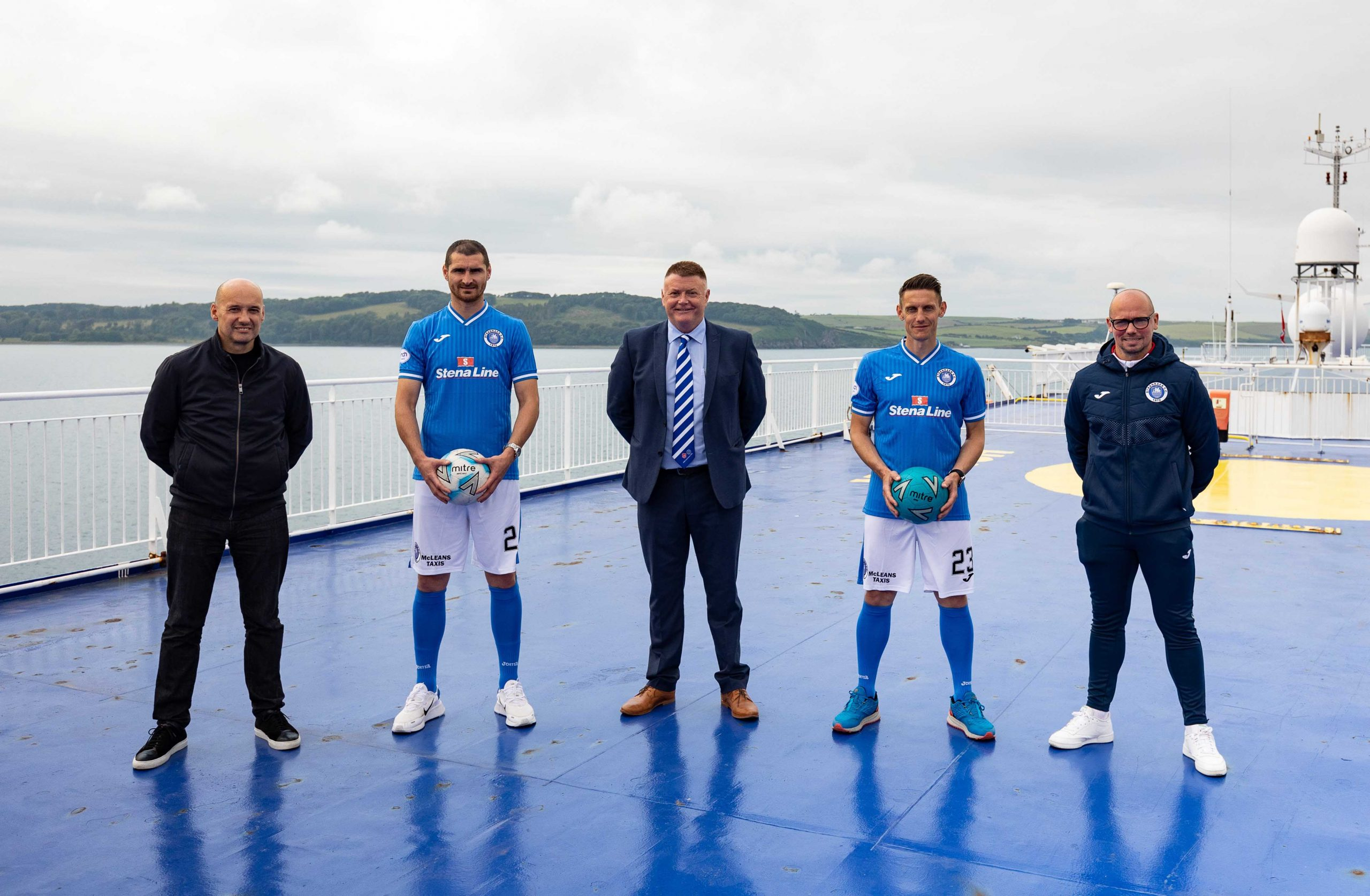 FERRY GOOD DEAL: The longest unbroken sponsorship deal in British professional football history is to continue for a staggering 34th consecutive season after ferry company Stena Line renewed its partnership with Scottish League Two side Stranraer Football Club. Stena Line's long-running association with Stranraer FC 'kicked off' in 1988 and has lasted longer than any other sponsorship out of all the English, Scottish and Welsh professional football leagues. Celebrating the renewal of the sponsorship on top of the Superfast VII ferry are (left to right) Stena Line PR & Communications Manager Simon Palmer, first team player Darryl Duffy, Stranraer FC Vice Chairman Robert H Rice, player Scott Robertson and team manager Jamie Hamill.