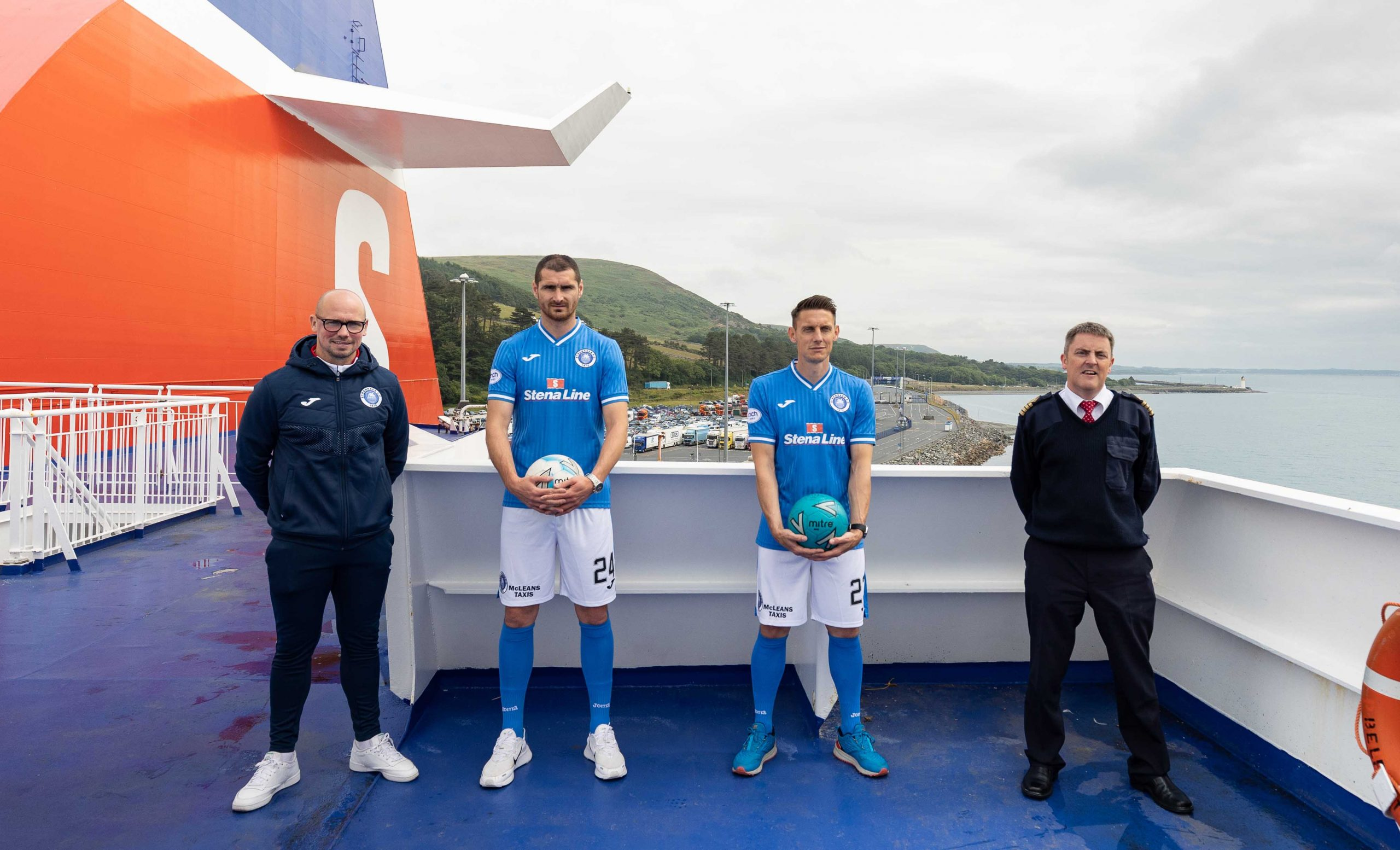 FERRY GOOD DEAL: The longest unbroken sponsorship deal in British professional football history is to continue for a staggering 34th consecutive season after ferry company Stena Line renewed its partnership with Scottish League Two side Stranraer Football Club. Stena Line's long-running association with Stranraer FC 'kicked off' in 1988 and has lasted longer than any other sponsorship out of all the English, Scottish and Welsh professional football leagues. Celebrating the renewal of the sponsorship on top of the Superfast VII ferry are (l-r) Stranraer FC team manager Jamie Hamill, first team players Darryl Duffy and Scott Robertson, and the ship's Captain Casey Doyle.