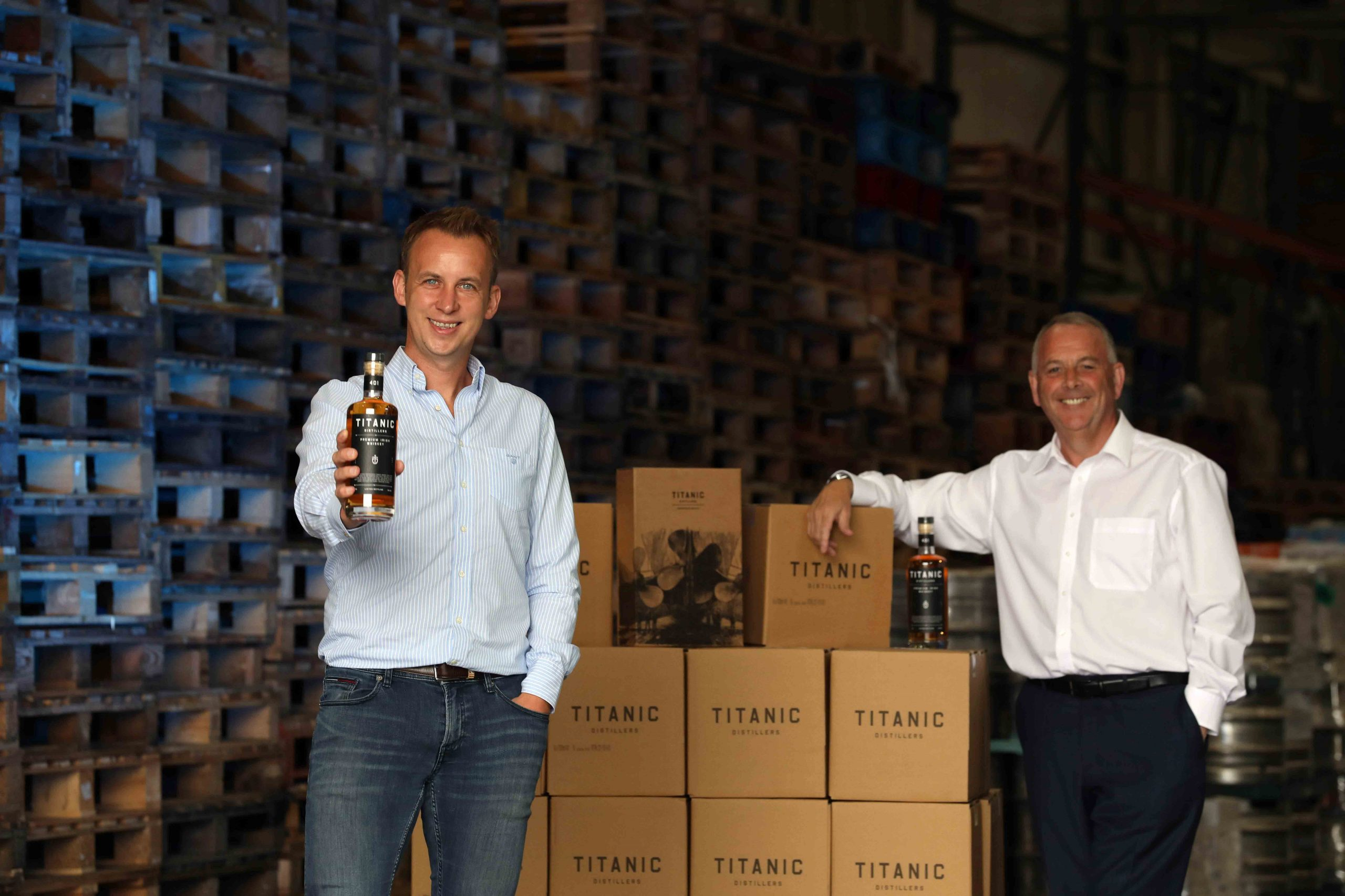 WHISKEY BUSINESS: Leading drinks distributor United Wines has secured an exclusive all-Ireland distribution deal with Titanic Distillers, Belfast's newest premium Irish Whiskey brand. The partnership will see Craigavon-based United Wines handle all distribution for the new whiskey through its extensive On- and Off-Trade customer base across the island of Ireland – which includes more than 1,000 bars, restaurants, hotels, off licenses, cash & carries, regional wholesalers and national multiples. Launching the partnership at United Wines' 75,000 square foot warehouse in Craigavon are Titanic Distillers Commercial Director Stephen Symington (left) and United Wines Managing Director Martin McAuley. Titanic Distillers Premium Irish Whiskey is described as 'full and rich with a smoky hint and a lingering finish' and is available to order now from United Wines on +44 (0) 28 3831 6555.